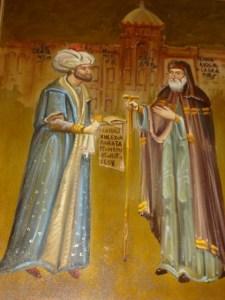 Ο Σουλτάνος Μωάμεθ παραδίδει το φιρμάνι με τα προνόμια των χριστιανών στον Πατριάρχη Γεννάδιο Σχολάριο, μετά την Αλωση